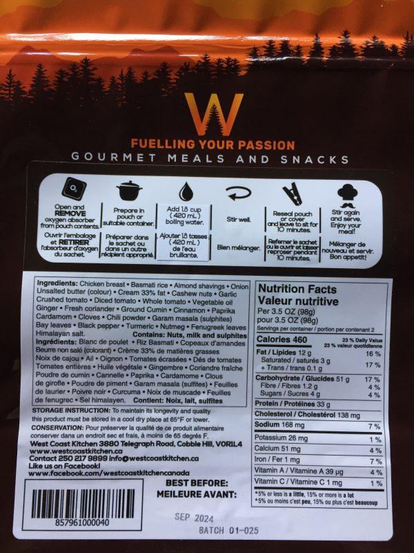 Butter Chicken Nutritional Label